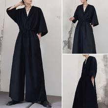 INCERUN 2021 moda erkek rahat yarım kollu siyah genel gevşek katı renk tulum pamuk Baggy Harem pantolon Streetwear tulum