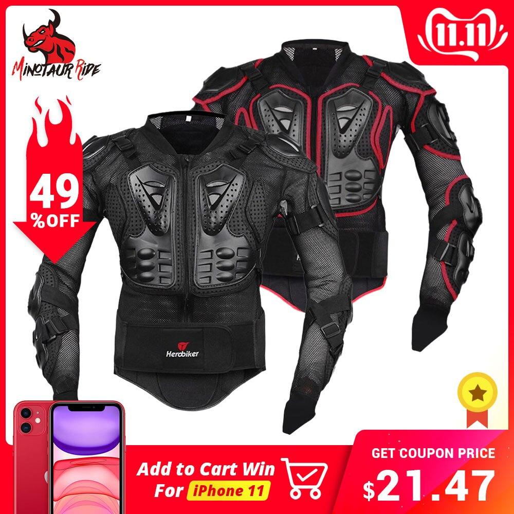 Herobiker motocicleta armadura engrenagem de proteção motocross armadura corpo peito moto piloto jaqueta de corrida proteção da motocicleta S-5XL