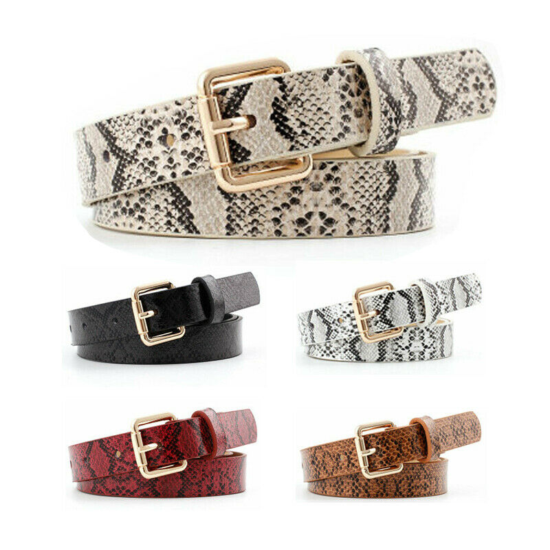 Snake Skin Printed Belts For Women Gold Square Pin Buckle Waistband PU Leather Belt Female Snake Pattern Dress Faxu Leather Belt