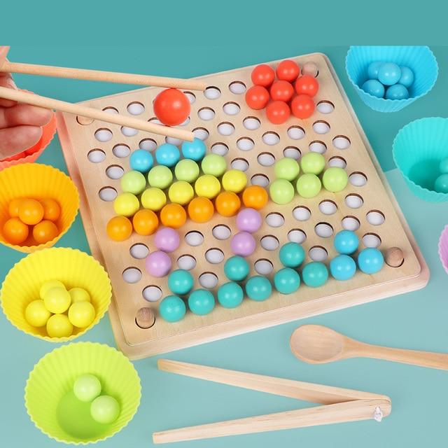 JaheerToy Del Bambino A Mano Movimento di Formazione di Colore Cognizione Perline Ritaglio di Legno Giocattoli per Bambini Palla Montessori Educazione Precoce 4