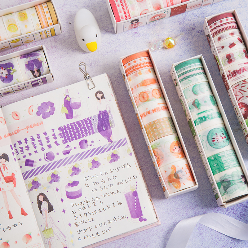 10 Rolls Kawaii Fruit Masking Washi Tape Set DIY Decorative Adhesive Tape For Scrapbooking Decoration