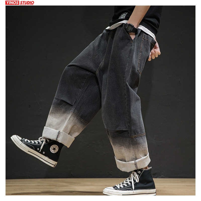 Dropshipping 2020 Men Summer Gradient Denim Pants Men Hip Hop Loose Street Wear Straight Jeans Male Fashion Oversize 5XL Jeans