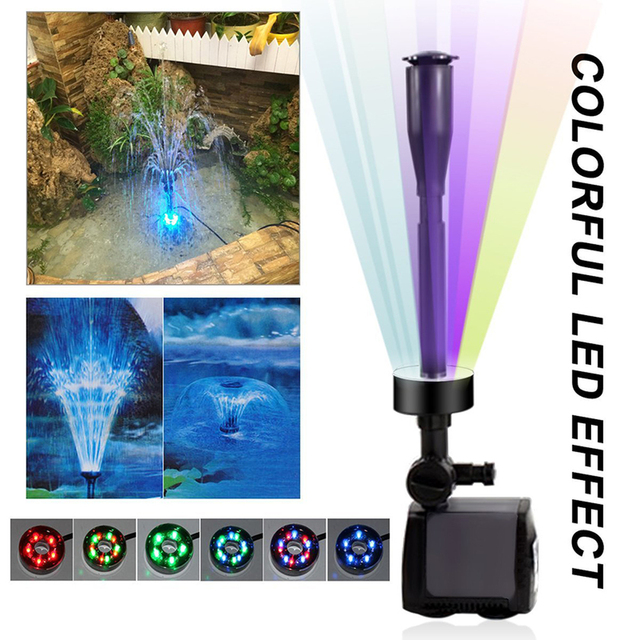 Submersible Aquarium Water Pump with 15 PCS Multi Color Changing LEDs for Hydroponics Garden Pond Fish Tank LED Fountain Pump 1