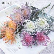 Yo cho leucospermum flor artificial ramo curto caranguejo garra 2 garfo plantio pincoxim flor simulação casa flor
