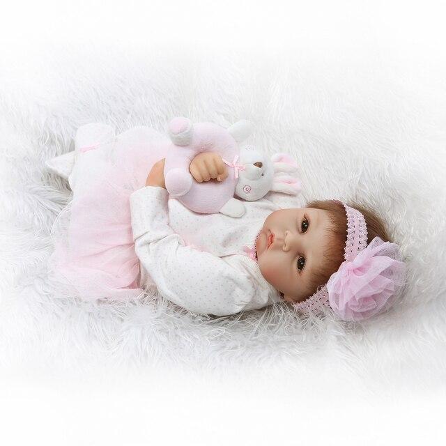 Newborn Sweet Face Lifelike Bebe Doll Reborn Baby Hand Rooted Hair 5