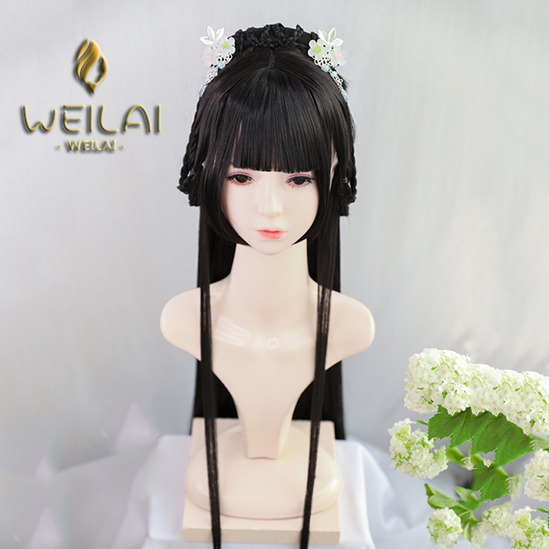 Braided Bun With Neat Bangs Vintage Wigs For Women Han Dynasty Ancient Style Wig Ancient Costume Versatile Daily Used Custom Wig