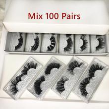 Wholesale 25mm Mink False Eyelashes 20/30/50/100 pc 5D Mink Lashes Gliter box Label Makeup Dramatic Long Mink Lashes