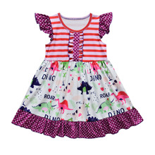 2020 New Design Baby Summer Persnickety Dino Cartoon Boutique Clothing Ruffle Dress Cotton Princess Dresses