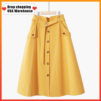 OUSHANG skirts evangelical gode Korean Blue Single-breasted High Waist Sun School Skirt Female 100% Cotton Midi Skirt With Belt evangelical calvinism