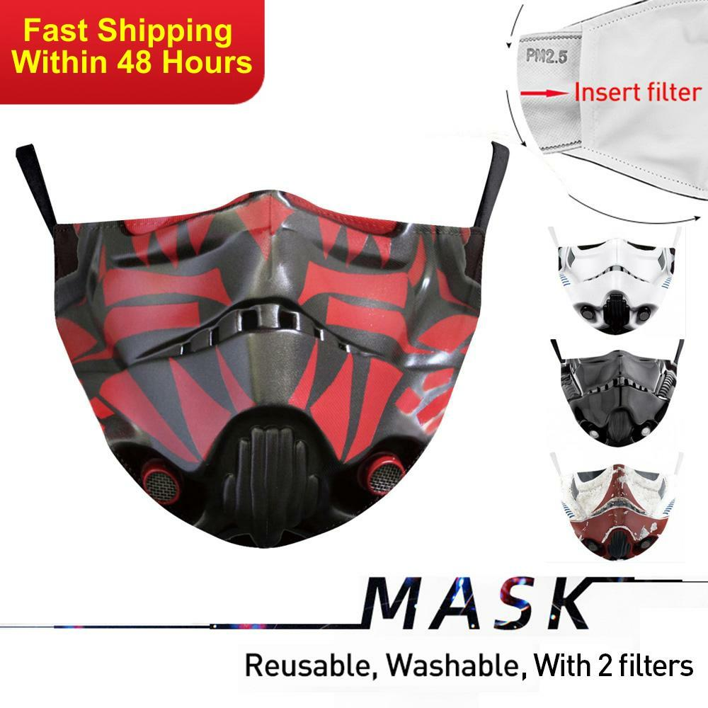 Zawaland Reusable 3D Print Mouth Mask Washable Anti Flu Bacteria Masks Washable Motorcycle Face Mask With 2 Filters Adult
