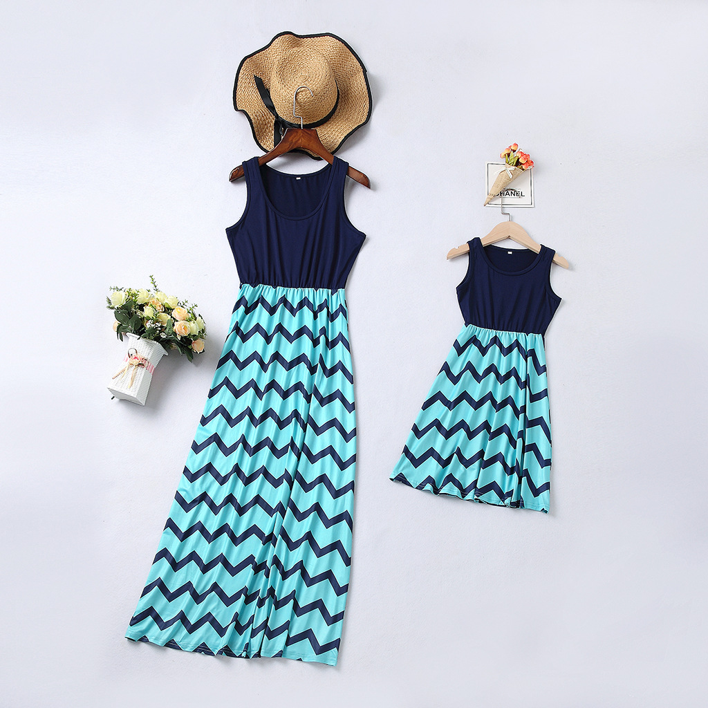 Sleeveless Striped Mother Daughter Dresses Mommy And Me Clothes Family Matching Outfits Look Mom Mum Mama & Baby Dress Summer