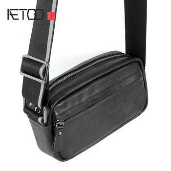 AETOO Simple head cowhide mens Little Fang Baoquan shoulder strap single oblique female bag mini Bag