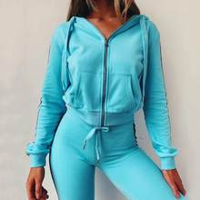 Women's Sports Sweater New Fashion Hooded Sports and Leisure 2piece Suit Fitness Yoga Set Outdoor Running Gym Jogging Clothes(China)