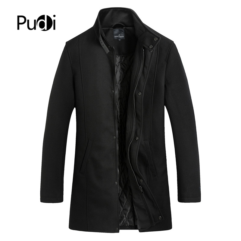 PUDI New Winter Wool Coat Slim Fit Jackets Mens Casual Warm Outerwear Jacket and coat Men Pea Coat plus Size QY903