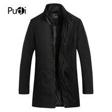 Pudi新冬のウールコートスリムフィットジャケットメンズカジュアル暖かい上着ジャケットとコート男性エンドウコートプラスサイズQY903