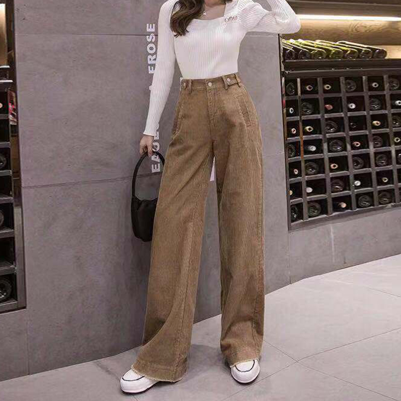 Women's Corduroy Thick Pants Wide Leg Pant For Women High And Elastic Waist Casual Straight Trousers Lady Office Pants