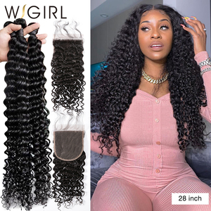 Wigirl 8- 28 30 Inch Deep Wave Bundles With Closure Brazilian Remy Curly Human Hair Water Wave 3 4 Bundles Weave Lace Closure(China)