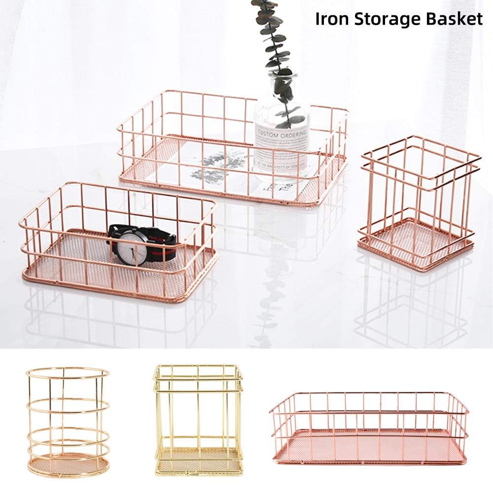 Hot Nordic Rose Gold Metal Wire Iron Storage Basket Office Desktop Sundries Makeup Brushes Holder Table Cosmetics Organizer Rack