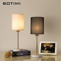 BOTIMI Europa Tisch Lampe Mit Tuch Lampenschirm Für Schlafzimmer Nacht Weiß Schwarz Schreibtisch Lesen Leuchtet Moderne Wohnzimmer Leuchten