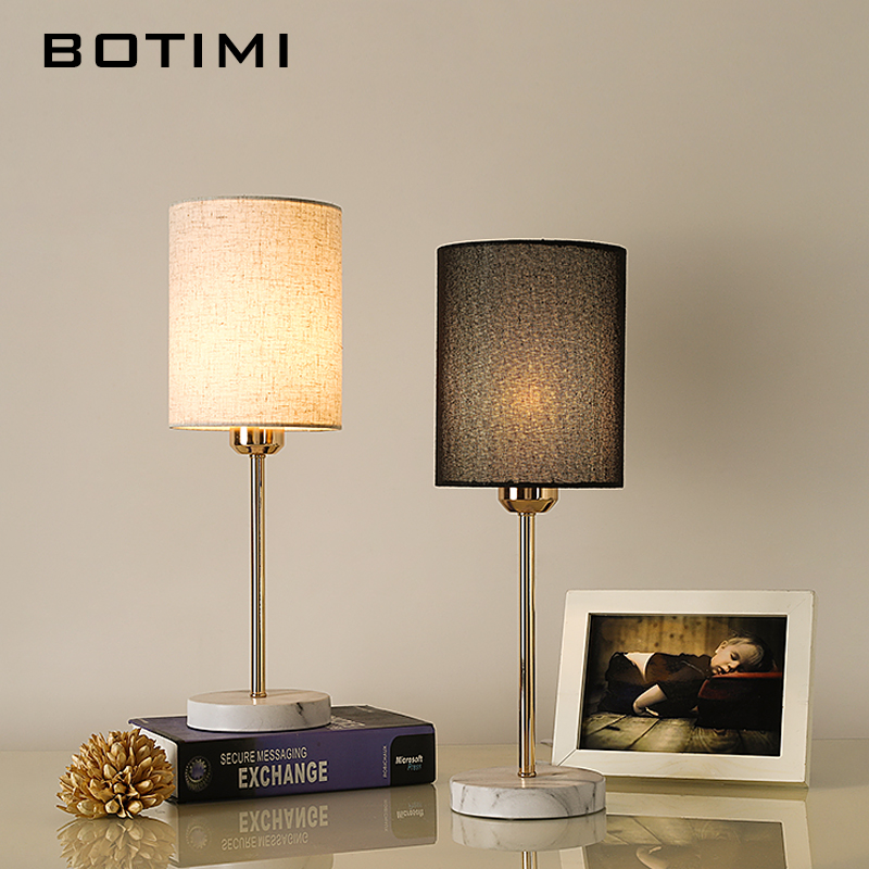 Botimiヨーロッパテーブルランプ布ランプシェード寝室のベッドサイド用白黒テーブル読書灯モダンなリビングルームの照明