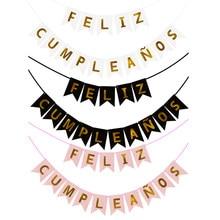1 pçs espanhol carta bandeira decoração de aniversário papel feliz aniversário banner para crianças adulto festa de aniversário pano de fundo pingente decoração