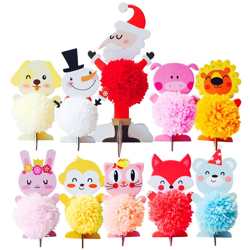 10pcs Christmas Crafts For Kids Wool Woven Ball Children Toys Craft Sets Xmas Christmas Decoration For Home Santa Claus Snowman