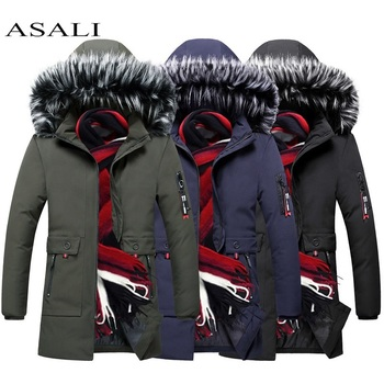 Stand Collar Hooded Collar Men Padded Parka Cotton Coat Winter Hooded Jacket Brand Clothes 2019 Mens Coat Thick Warm Parkas Slim