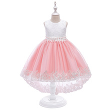 hot formal princess kids girls summer mesh wedding dresses party gown for age 3 4 5 6 7 8 9 10 years children prom gown clothing 2020 Summer Elegant Lush Girls Dress Kids Dresses for Girls Princess Tail Dress for Wedding Evening Party Gown Children Clothing