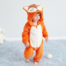 Baby Clothes 2020 Infant Romper Cartoon Fox Boys Girls Jumpsuit New Born Clothing Hooded Toddler Panda Cute Stitch Baby Costumes