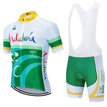 цена на 2020 TEAM ANDALUZA cycling jersey bike Pants set 20D Ropa mens summer quick dry pro BICYCLING shirts SHORT Maillot Culotte wear