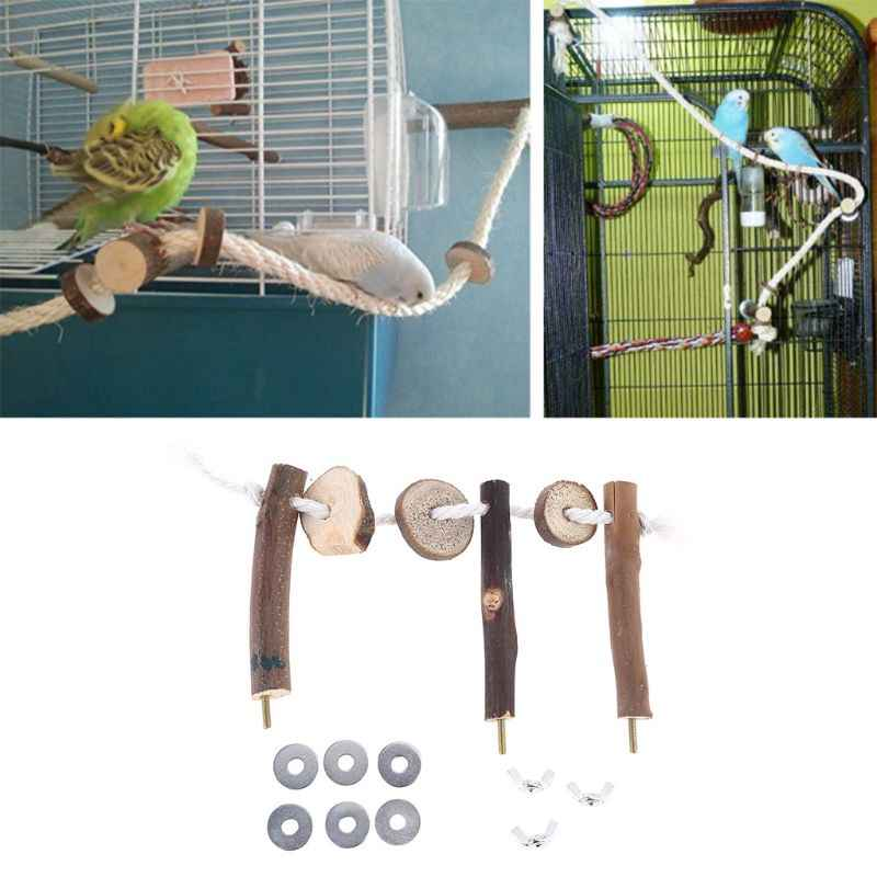 Macaw Peety Bird Parrot Chew Toy Wood Bite Cages Toys African Grey Bird Budgie Cockatiel Hammock