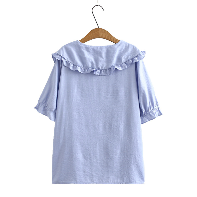 Peter Pan Collar Summer Blouse Women Plus Size Ruffles Casual Short Sleeve Blouse Shirt KKFY4638 Women Women's Blouses Women's Clothings cb5feb1b7314637725a2e7: Blue|White|YELLOW