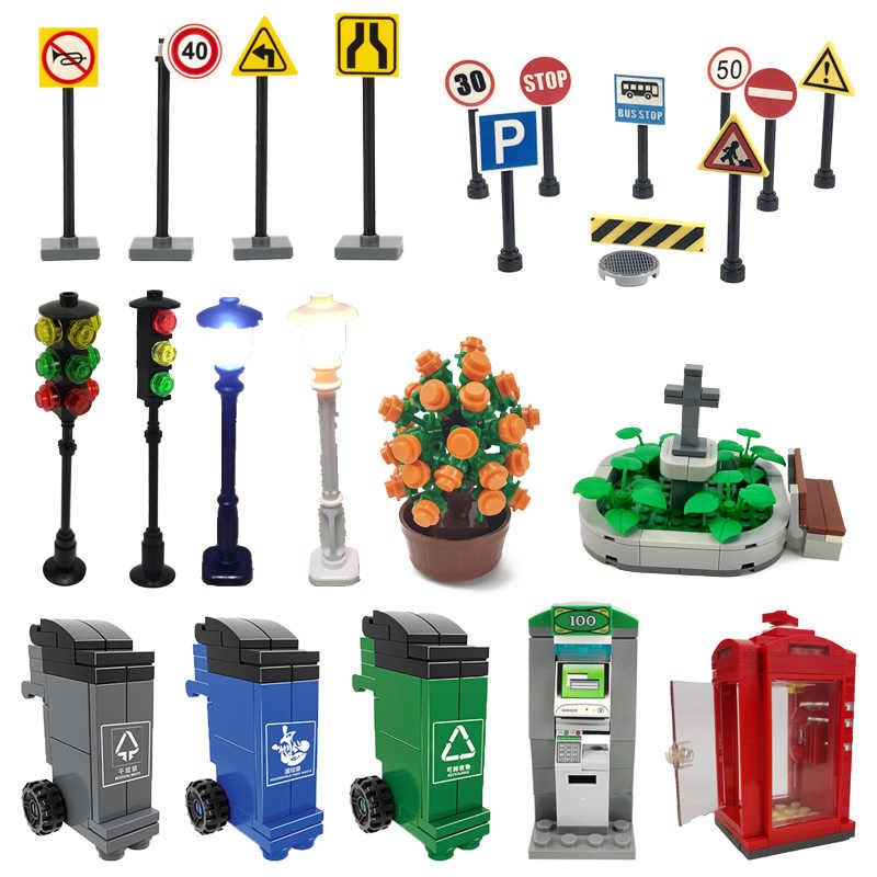 Creator City phone ATM Traffic podświetlany znak kosz na śmieci widok ulicy zestawy stołowe zabawki dla dzieci prezenty dla dzieci klocki budowlane miasto
