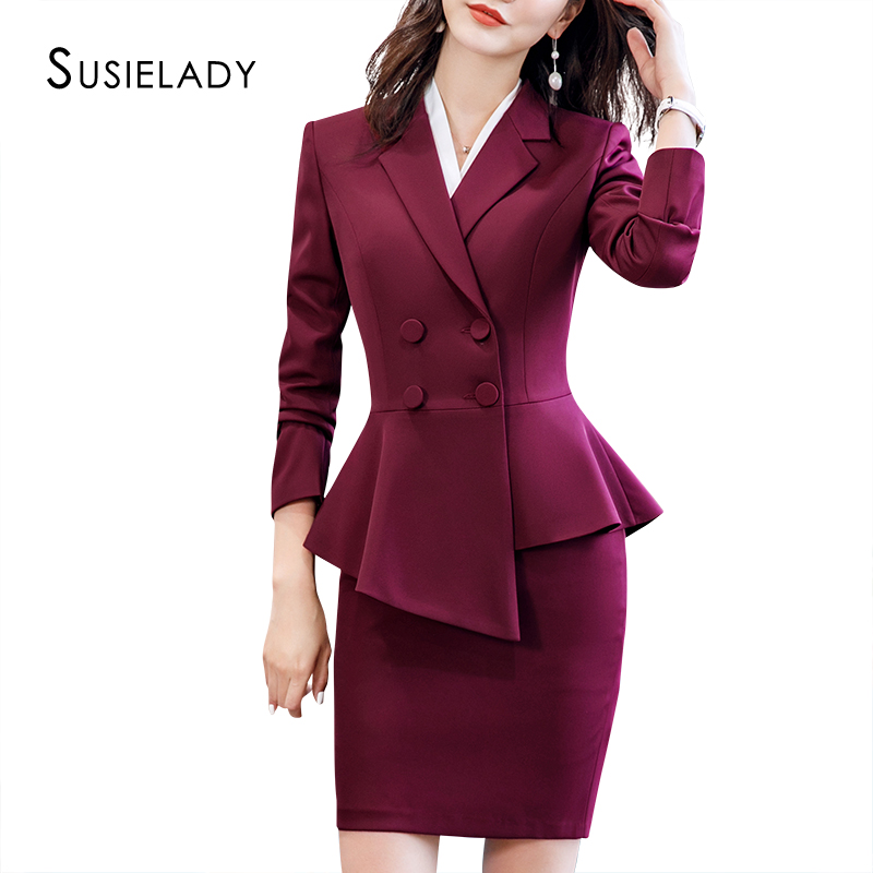 SUSIELADY Women's Skirtsuits Solid Business Blazer Suits Double-Breasted Office Wear Women Sets Ruffle Hem Skirts Sets