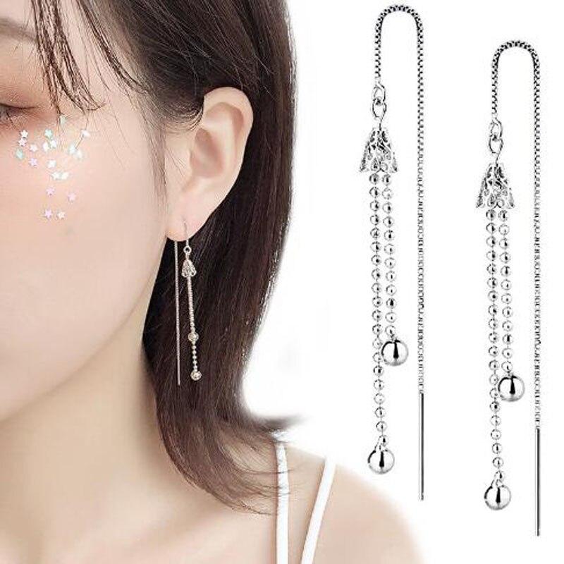 Sweet Crystal Ear Line Earrings Korean Tassel Earrings for Women Wind Chime Ear Line Silver Fashion Earings Jewelry Xmas Gift in Drop Earrings from Jewelry Accessories