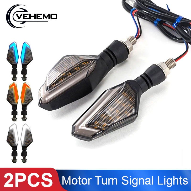2PCS Motorcycle LED Turn Signal Lights Left Right Signal Lamp Daytime Running Lights Indicators Blinkers For Honda Kawasaki