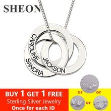 SHEON Authentic 925 Sterling Silver Necklace Personalized Russian Interlocking Circles Jewelry Gift for Mother