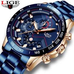 Męskie zegarki LIGE 9982 luksusowa marka ze stali nierdzewnej kwarcowy zegar cyfrowy zegarek mężczyźni armia wojskowy Sport zegarek relogio masculino