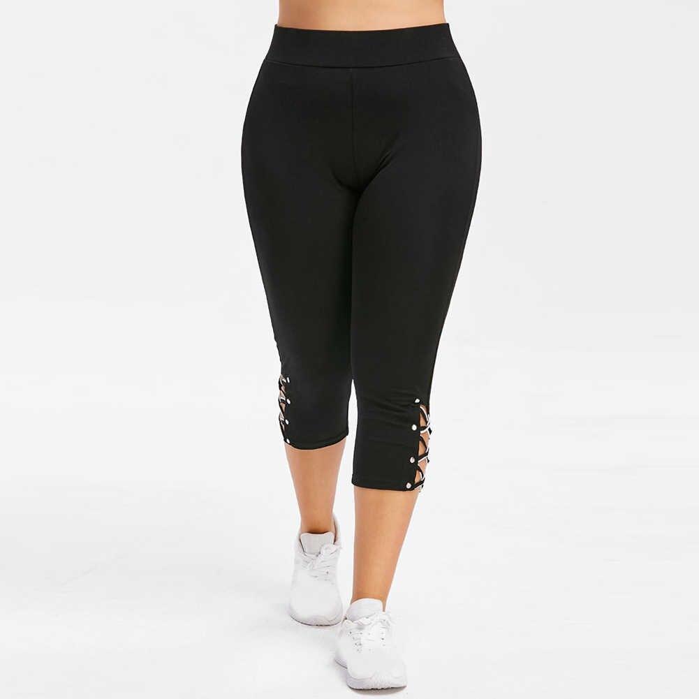 Kadınlar yüksek bel kırpılmış pantolon pantolon elastik bandaj tayt artı boyutu