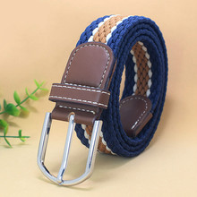 New Hot Colors Men Women Casual Knitted Pin Buckle Belt Woven Canvas Elastic Wom
