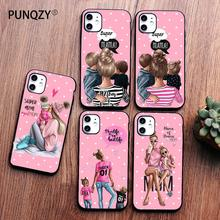 PUNQZY Cute girl love mom Phone Case For iPhone 11 PRO max 8 7 6 Plus 5 XS MAX XR Mother's day gift Soft TPU Candy colors Case punqzy cute baby super girl mom love case for iphone 11 pro max 6 7 7s 8 plus xs xr xs max soft tpu transparent love mom love