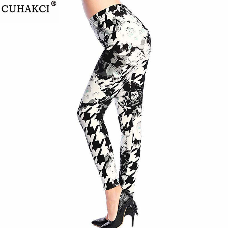 CUHAKCI New Print Leggings Plus Size Legging  Flower Plaid Thin Pants Fashion Leggins Hot Sale Women Aptitud Trousers