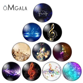 New Music notes Beauty 10pcs 10mm/12mm/18mm/20mm/25mm Round photo glass cabochon demo flat back Making findings ZB0680 - discount item  10% OFF Jewelry Making