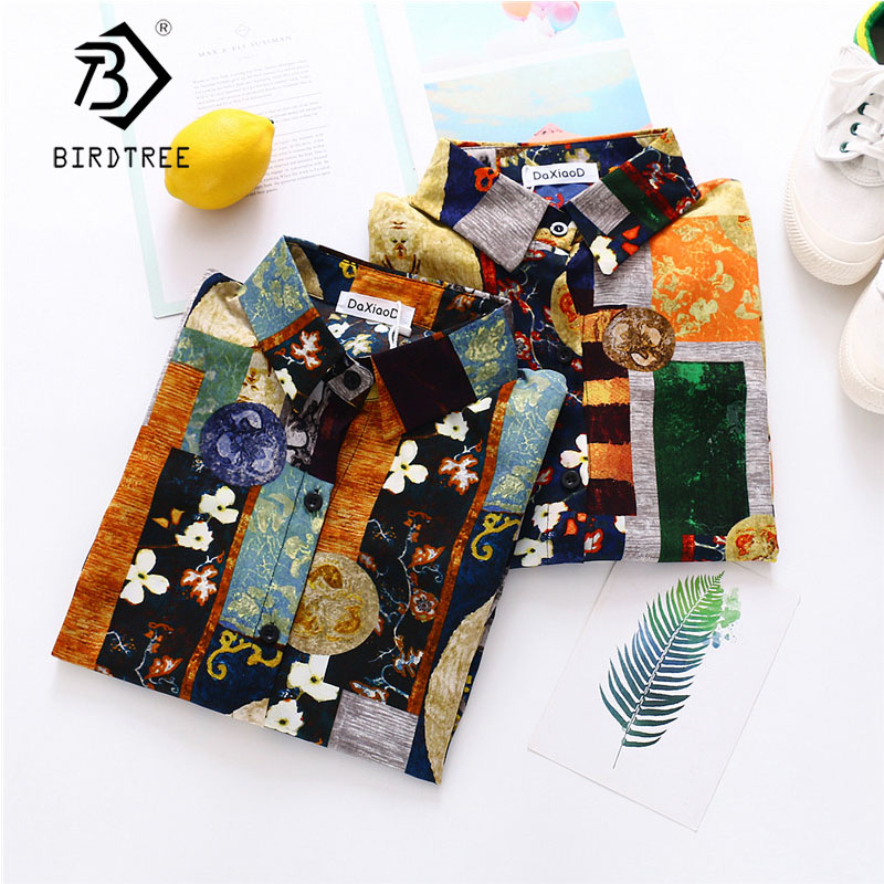 2020 Summer New Women Color Block Chiffon Blouse Autumn Long Sleeve Shirt Vintage Oversize Tops Casual Feminina Blusa T02811Y