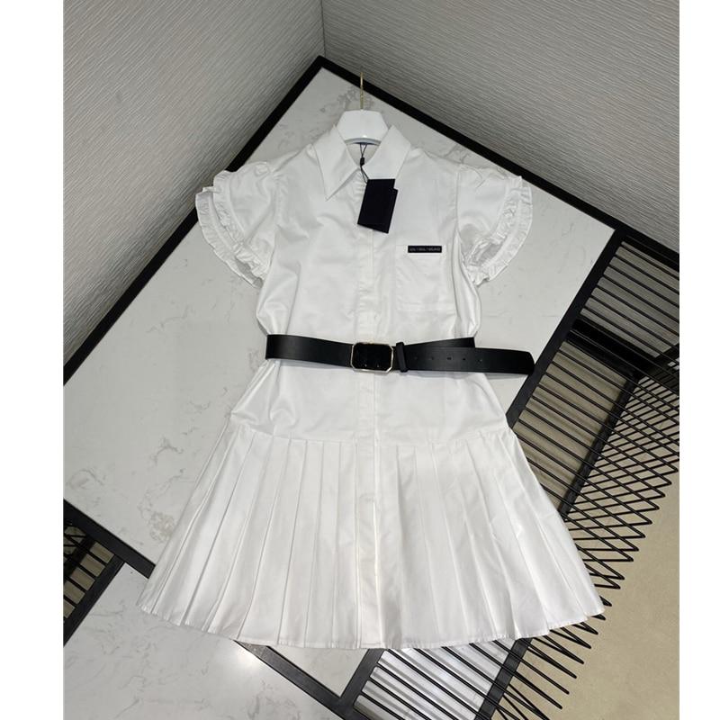 Женское винтажное мини платье с поясом, Элегантное летнее платье из 100% хлопка с оборками, 2020