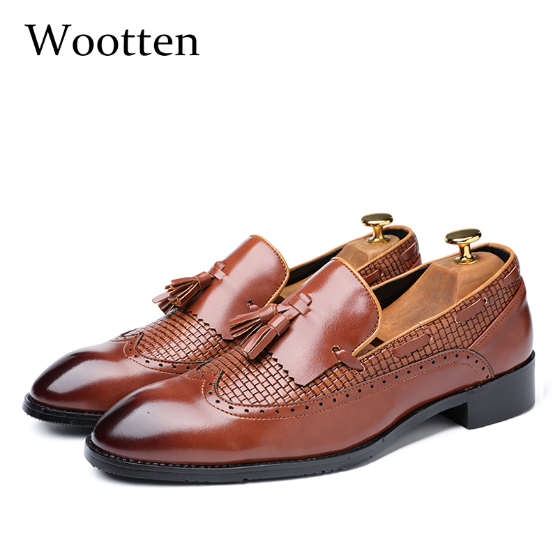 US $25.05 45% OFF|37 48 casual shoes men leather elegant Brand Breathable classic Comfortable Plus Size luxury fashion loafers men #7715 in Men's