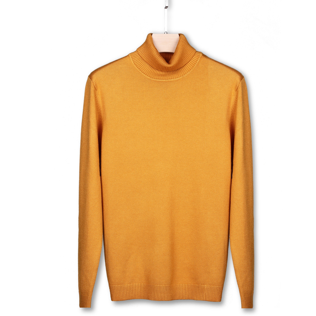 Autumn Knitwear Cute Yellow Ribbed Sweater Male Turtleneck Men High Neck Top Boys Oversized Colorful Sweater Knitted Pullover