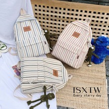 ISXTW 2019 Summer And Autumn New Backpack Trend Casual Canvas Bag Fashion Contrast Color Striped Couple Models / C4