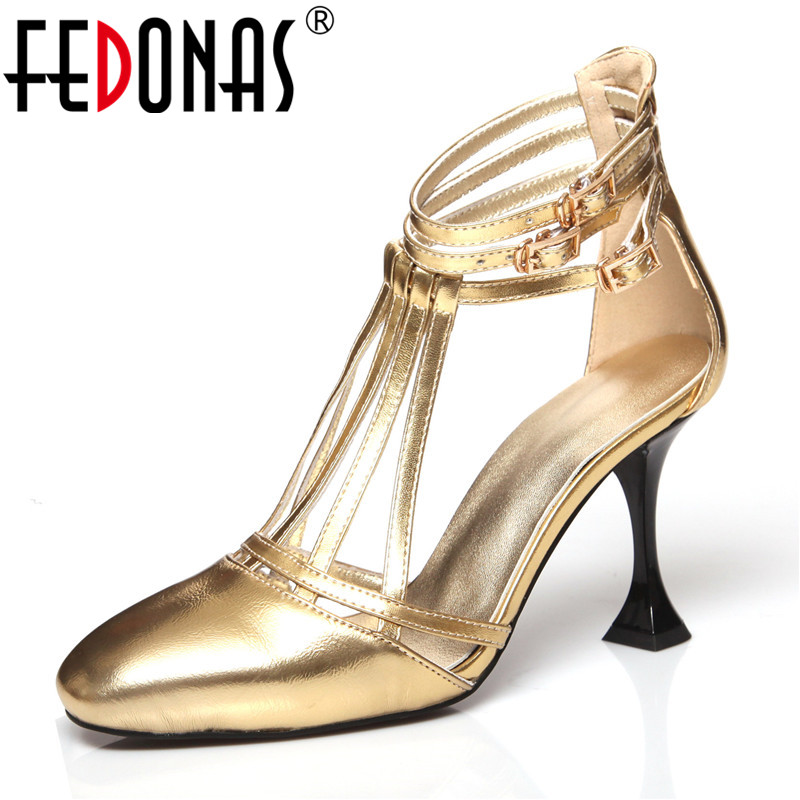 FEDONAS Sexy Women High Heels Gold Party Wedding Shoes Woman Pointed Toe Genuine Leather Prom Pumps Female Dancing Shoes