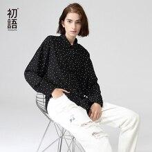 Toyouth Fashion Women Polka Dot Blouses And Shirts Autumn Casual Turn Down Collar Long Sleeve Chiffon Blouse